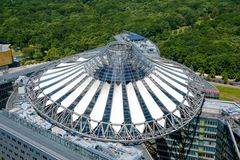 Aerial of the roof of the Sony Center building at Potsdamer Plat. Berlin, Germany - june 9, 2017: Aerial of the roof of the Sony Center building at Potsdamer stock image