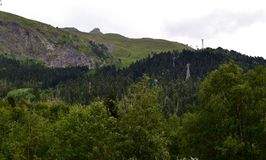 Aerial ropeway, Dombay. The Republic of Karachay-Cherkessia in the North Caucasus, Russia. Photo taken on: July 26 Friday, 2013 Royalty Free Stock Photography