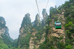 Aerial ropeway in the famous Avatar Mountains, Zhangjiajie. National Park, China stock photos
