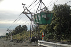 Aerial ropeway. WESTPORT, NEW ZEALAND, CIRCA 2007: Buckets on the aerial ropeway carry coal down to the the railway terminal at Stockton Coal Mine, West Coast Royalty Free Stock Photo