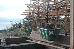 Aerial ropeway. WESTPORT, NEW ZEALAND, CIRCA 2007: Buckets on the aerial ropeway carry coal down to the the railway terminal at Stockton Coal Mine, West Coast stock photography