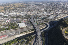 Aerial Route 5 Freeway and the Los Angeles River Royalty Free Stock Photo