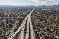 Aerial Route 118 Freeway in Los Angeles. Aerial view of Route 118 freeway crossing the San Fernando Valley in Los Angeles, California Stock Photography