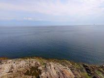 Aerial of rugged coastline stock photos
