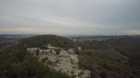 Aerial of ruins of the ancient city Mangup Kale. Crimea stock footage