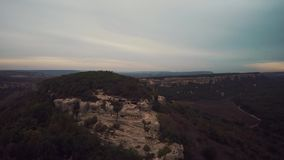 Aerial of ruins of the ancient city Mangup Kale. Crimea. stock video footage