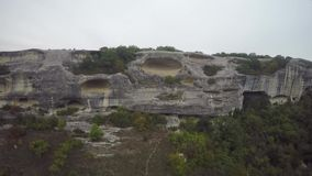 Aerial of ruins of the ancient city Mangup Kale. Crimea. stock video