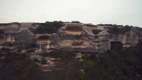 Aerial of ruins of the ancient city Mangup Kale. Crimea. stock footage