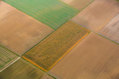 Aerial of rural landscape with cultivated land near Frankfurt am Main. Aerial of rural landscape with fields, photograph taken from hot air balloon Stock Images