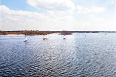 Aerial from sailing at the Loosdrechtse plassen in the Netherlan Stock Photography