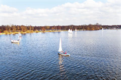 Aerial from sailing at Loosdrechtse plassen in Netherlands Royalty Free Stock Photo