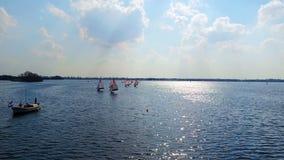 Aerial from sailing on the loosdrechtse plassen in Netherlands stock video