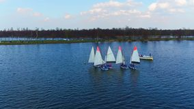 Aerial from sailing on the loosdrechtse plassen in Netherlands stock footage