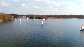 Aerial from sailing on the loosdrechtse plassen in Netherlands stock video footage