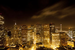 Aerial of San Francisco Downtown by night Royalty Free Stock Photography