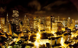 Aerial of San Francisco Downtown by night Stock Image