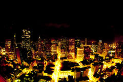 Aerial of San Francisco by night. Aerial of Downtown San Francisco by night Royalty Free Stock Photo