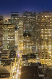 Aerial of San Francisco by night. With facade of skyscraper Royalty Free Stock Images