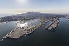 Aerial of San Pedro Shoreline in Los Angeles California Stock Images