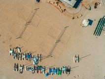 Aerial: Sand Volleyball Courts and Catamarans stock photography