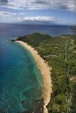 Aerial of sandy beach. Royalty Free Stock Photo