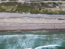 Aerial of Sandy Beach on Cape Cod, MA. Waves from the Atlantic Ocean wash onto a scenic beach on Cape Cod, Massachusetts. This sandy peninsula is a popular Stock Images