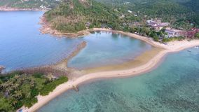 Aerial: Sandy Beach Spit Between Koh Mak Island near Koh Phangan. View on Coral Reef and Beautiful Lagoon. HD Slowmotion stock video