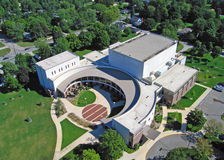 Aerial of Sauder Concert Hall. Aerial photograph of Sauder Concert Hall and music center Goshen College, Goshen Indiana Royalty Free Stock Photo