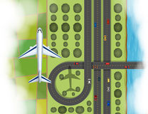 Aerial scene of airplane flying over the land vector illustration