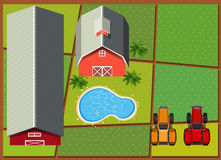Aerial scene with barns in the farm. Illustration Stock Photography