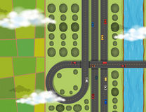 Aerial scene with cars on highway. Illustration stock illustration