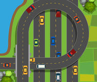 Aerial scene with cars on road Royalty Free Stock Photos