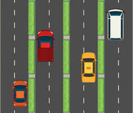 Aerial scene with cars on the roads Royalty Free Stock Images