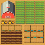 Aerial scene of farmland with barn and crops Royalty Free Stock Photo