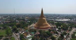 Aerial scene of Old big Thai buddhist pagoda stock footage