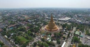Aerial scene of Old big Thai buddhist pagoda stock video footage