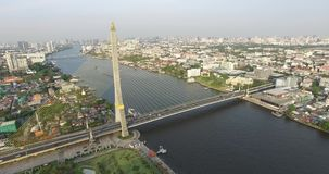 Aerial scene Rama 8 bridge with  Chao Phraya river. Bangkok , Thailand, 25/02/2017 stock footage