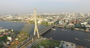 Aerial scene Rama 8 bridge with  Chao Phraya river. Bangkok , Thailand, 25/02/2017 stock video