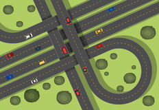 Aerial scene with roads and cars Stock Image