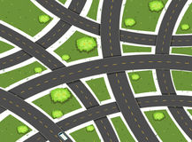 Aerial scene with roads and field royalty free illustration