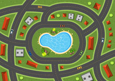 Aerial scene with roads and houses royalty free illustration
