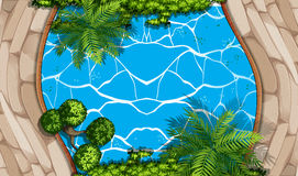 Aerial scene with swimming pool and garden Stock Photo