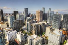 Aerial scene of the Vancouver, Canada skyline. An aerial scene of the Vancouver, Canada skyline stock images