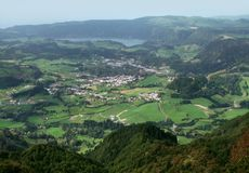 Aerial scenery at the Azores Stock Photo