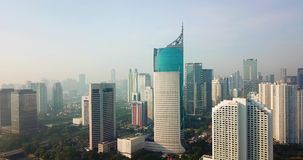 Aerial scenery from drone in Jakarta city