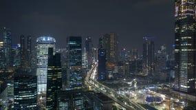 Aerial scenery of Jakarta skyline at nighttime. JAKARTA, Indonesia - October 26, 2018: Beautiful aerial scenery of Jakarta skyline at nighttime with skyscrapers stock photography