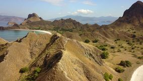 Aerial scenery of Padar Island with savanna hills