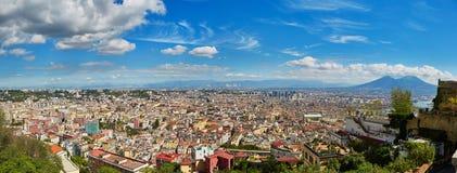 Aerial scenic panoramic view of Naples with Vesuvius volcano Royalty Free Stock Photos