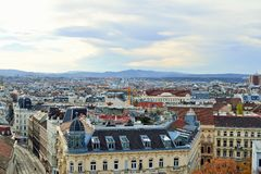 Aerial scenic panoramic view of Vienna Royalty Free Stock Images