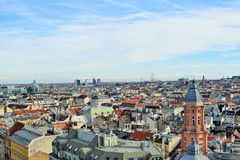 Aerial scenic panoramic view of Vienna Royalty Free Stock Photography